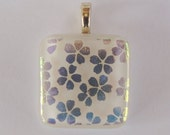 Fused Glass Pendant Dichroic Glass Cherry Blossoms Green Gold White