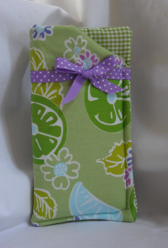 Eyeglass Case Handmade with Lilly Pulitzer Guava Green Twist Fabric