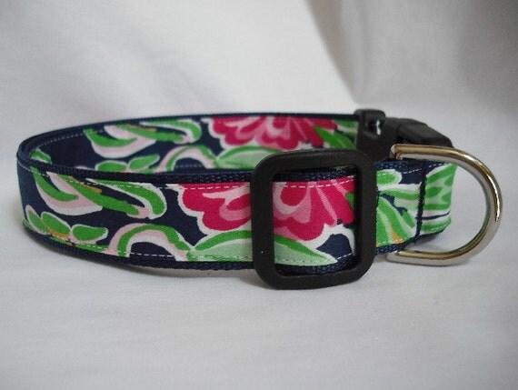 Custom order for mpettigrew Lilly Pulitzer 2012 Navy Blue Bellina Fabric Handmade Leash Size: Large