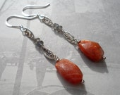 Sterling Silver Sunstone and Labradrite Earrings