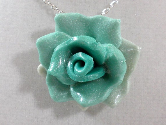 Seafoam Green Rose - Polymer Clay - Pendant Necklace -Teal Rose - Handmade
