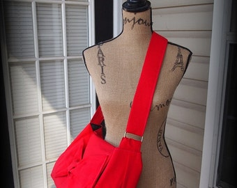 Handmade Adjustable strap laptop book bag Messenger bag in  Red color options avalible