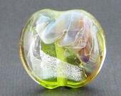 Green, Pink and Dichroic Glass Lentil Focal Bead - WILLA - Handmade Lampwork Bead