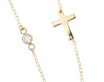 Sideways Cross Necklace With CZ, Cubic Zirconia - As Seen On Kelly Ripa - 14K Gold Filled