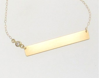 Gold Bar, Nameplate Necklace With Diamond,  Engravable 14K Yellow, White, or Rose Gold Name Plate As Seen on Kim Kardashian, Can be Engraved