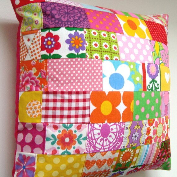 Large Vintage Retro Patchwork Cushion / Pillow Cover - 18 inches - vintage retro fabrics - orange, yellow pink