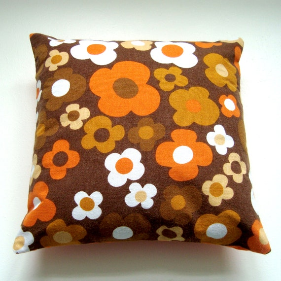 Vintage Fabric  Pillow / Cushion Cover -  Small Accent Pillow - Retro Brown and Orange Mod / Pop Flowers