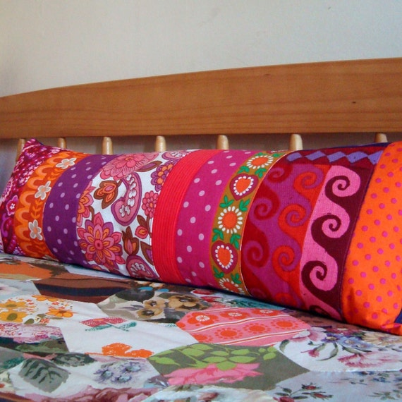 Long  Vintage Patchwork Pillow / Cushion Cover - Extra long bolster style oblong - Retro brights - orange, purple and pink