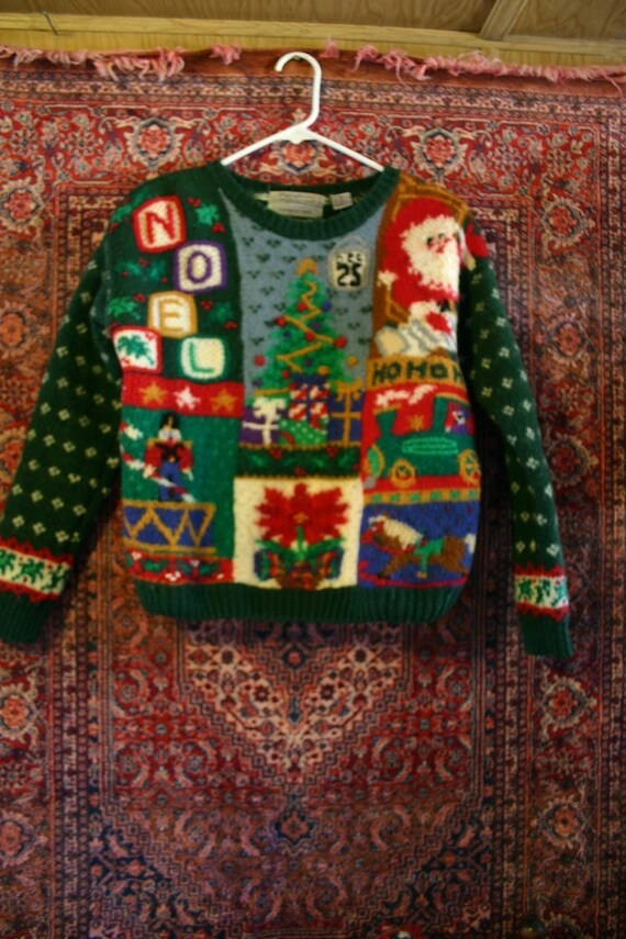 Vintage X-mas Hand Knit Wool SWEATER - Santa Claus NOEL Holiday Christmas Theme - size small women's clothing