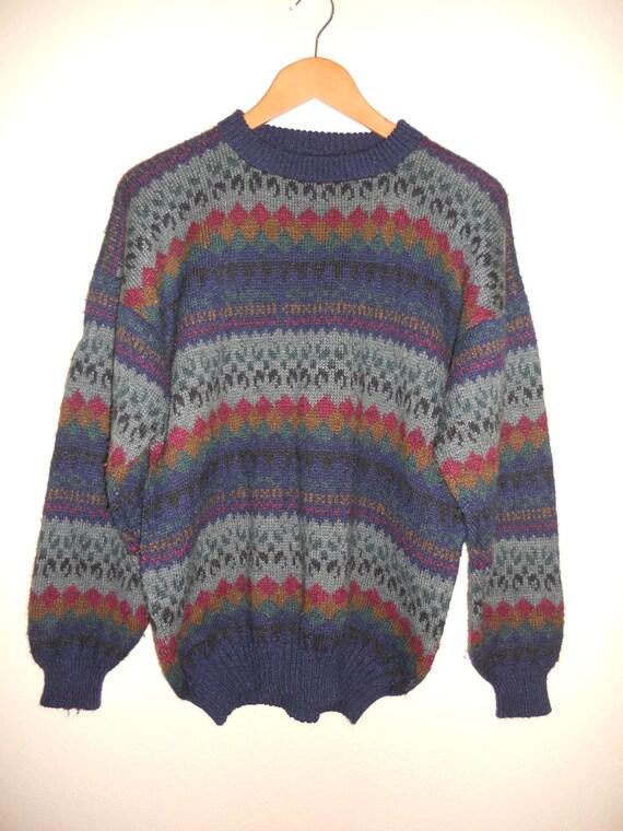 Vintage Oversized unisex  warm Winter Sweater    rabbit hair i think