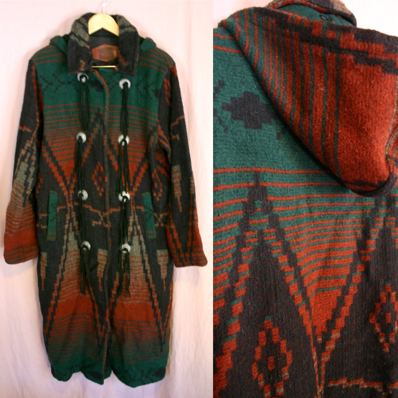 Vintage Southwestern Wool Navajo Long Style Jacket Coat By