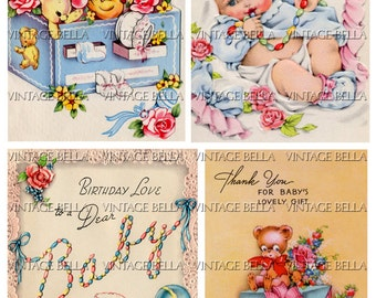 Vintage 1940s Baby Birth Greeting Card Digital Download 266 - by Vintage Bella collage sheet