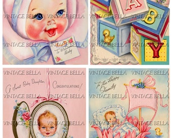 Vintage 1940s Baby Birth Greeting Card Digital Download 267 - by Vintage Bella collage sheet