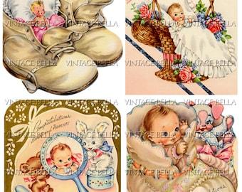 Vintage 1940s Baby Birth Greeting Card Digital Download 268 - by Vintage Bella collage sheet