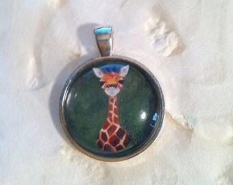 Baby Giraffe Art Jewelry - Real Glass - 1 Inch Circle Bezel Pendant - Timmie - Cute baby Giraffe - Cute Animal - Jewelry