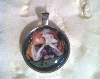 English Bull Dog Art Jewelry - Real Glass - 1 Inch Circle Bezel Pendant - Rest for the Weary - Cute Dog - Sleeping Bull DOG