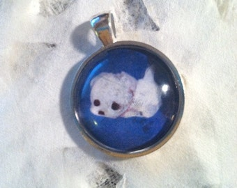 Pookie. Maltese Dog Art Jewelry. White Maltese. Real Glass. 1 Inch Circle Bezel Pendant. Cute Toy Dog. Jewelry