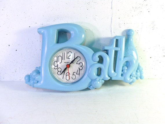 Vintage Bath Clock Baby Blue With Bubbles Retro By Stephied