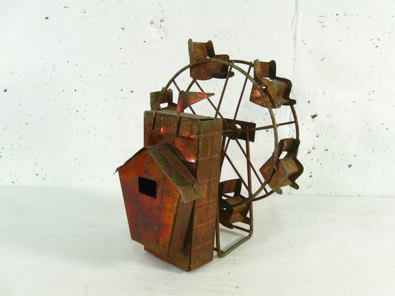 Vintage Copper Ferris Wheel Sculpture Carnival Decor Rustic