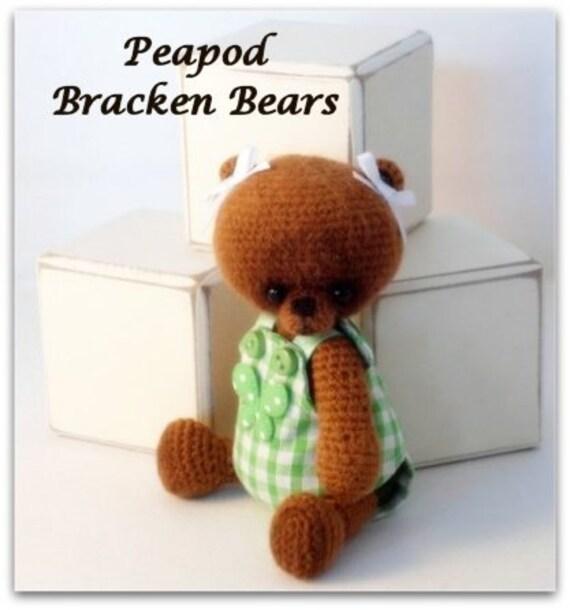 "SALE 20% OFF - Use coupon code ""BB001"" Peapod, miniature crochet bear by Bracken Bears"