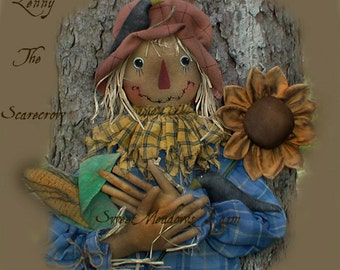 E-Pattern Primitive Scarecrow Lenny with Corn, Sunflower, Crows, Big Feet PDF