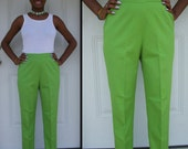 Classic Vintage 60s Levis for Gals High Waist Skinny Leg Summer Green Pants Sz S M
