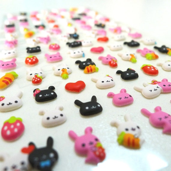 Cute Puffy Japanese Stickers - Animal Face Series - Bunny Friends (1206)