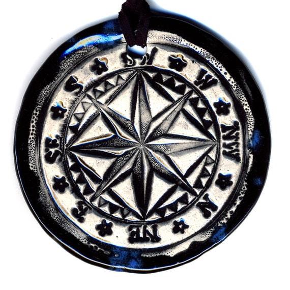 Compass Ceramic Necklace in Blue Black