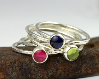 Gemstone Stacking Rings.  Birthstone Rings. Stacking Rings. Sterling Silver Personalized Rings. Mom Jewelry Gift. Grandma Jewelry. R4017