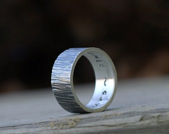 Wedding Band -  10mm Wide - Woodland Woodgrain Tree Bark Texture - Recycled Silver Ring - Custom Personalized - Unisex Ring