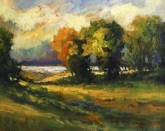 FREE SHIPPING Bobbi Doyle-Maher original acrylic painting on mounted canvas Impasto  impressionist landscape