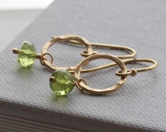 Peridot earrings - gold hammered hoop earrings with peridot gemstones - circle earrings - August birthstone - peridot jewelry