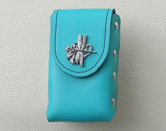 Turquoise Leather Cigarette Case with Dragonfly Concho