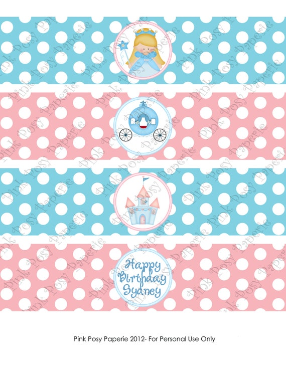 Printable Personalized Blue Princess Birthday Water Bottle Wrappers