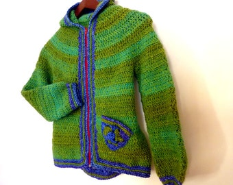 Instant download - Crochet pattern PDF - Armel, boys jacket with hood and pocket - with granny squares inserts