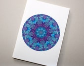 Purple & Blue Marbled Paper Mandala Design Notebook no. 16