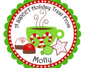 Christmas Cocoa and Treats Personalized Stickers, Christmas, Address Labels, Holiday, Children, Kids, Gift Tags, Party Favors - Set of 12