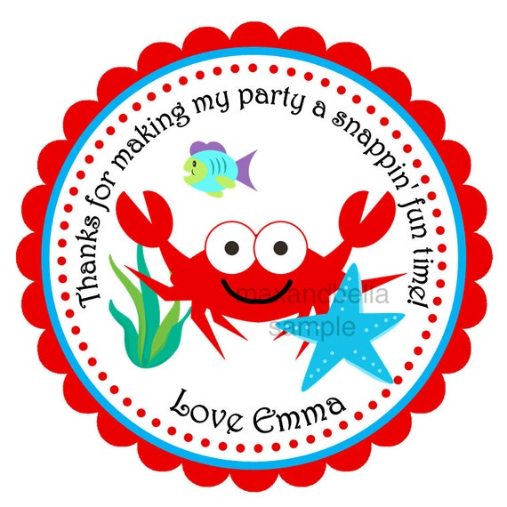 Red Ocean Crab Personalized Stickers, Labels, Gift Tags, Party Favors, Seals- Set of 12
