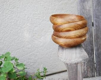 4 Vintage Wooden Bowls