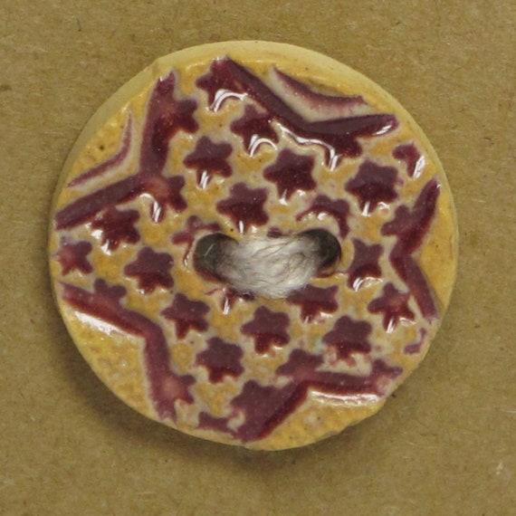 SALE Stamped Stars Ceramic Stoneware Button -  Raspberry - FREE SHIPPING