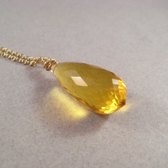 Citrine Necklace, Faceted Citrine Briolette Necklace, Gold Fill Chain Necklace, November Birthstone, Sunny Yellow