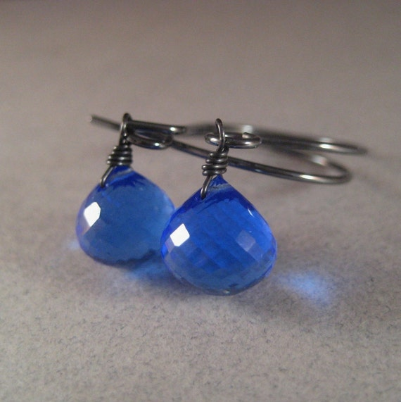 Blue Quartz Earrings, Faceted Blue Quartz Briolette Oxidized Sterling Silver Earrings