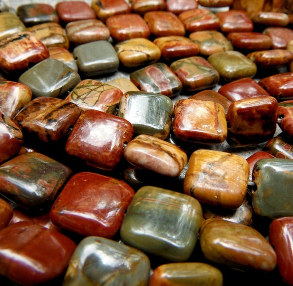 Reserved for Rivermouse - New Picasso Jasper 10mm Puffy Square Beads - 40 Beads