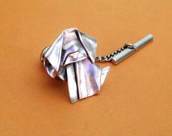 Silver Origami Dog Tie Tack