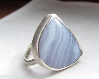 Blue stone ring, Blue lace agate ring, sterling silver metalwork, size 8 ring, statement ring, cocktail ring, natural stone