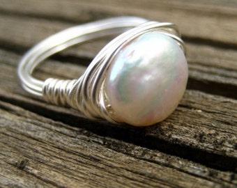 White freshwater pearl ring silver simple wire wrapped made to order