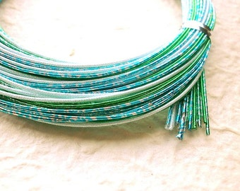 Mizuhiki Japanese Decorative Paper Cords Blue And Green Multi Color