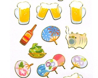 Japanese Stickers Summer Fans Beer  (S133)