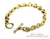 Antique Gold Charm Bracelet Link Chain with Toggle Clasp in Antique Gold. CBG-B