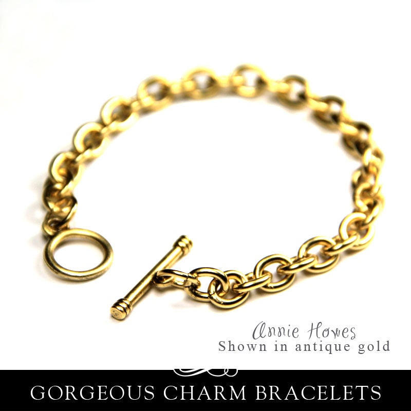 Antique gold charm bracelet link chain with toggle by anniehowes